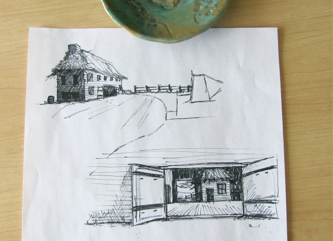 Large Home-Barn Sketch