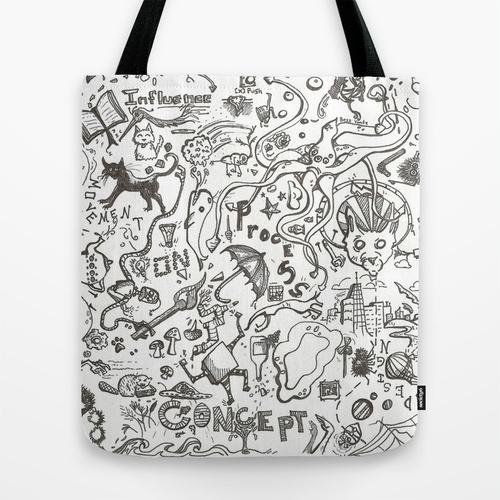Random doodles tote bag
